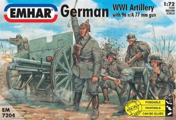 EM7204 Emhar German Artillery WWI Figures & 77mm Field Cannon 96n/A 1/72 Scale